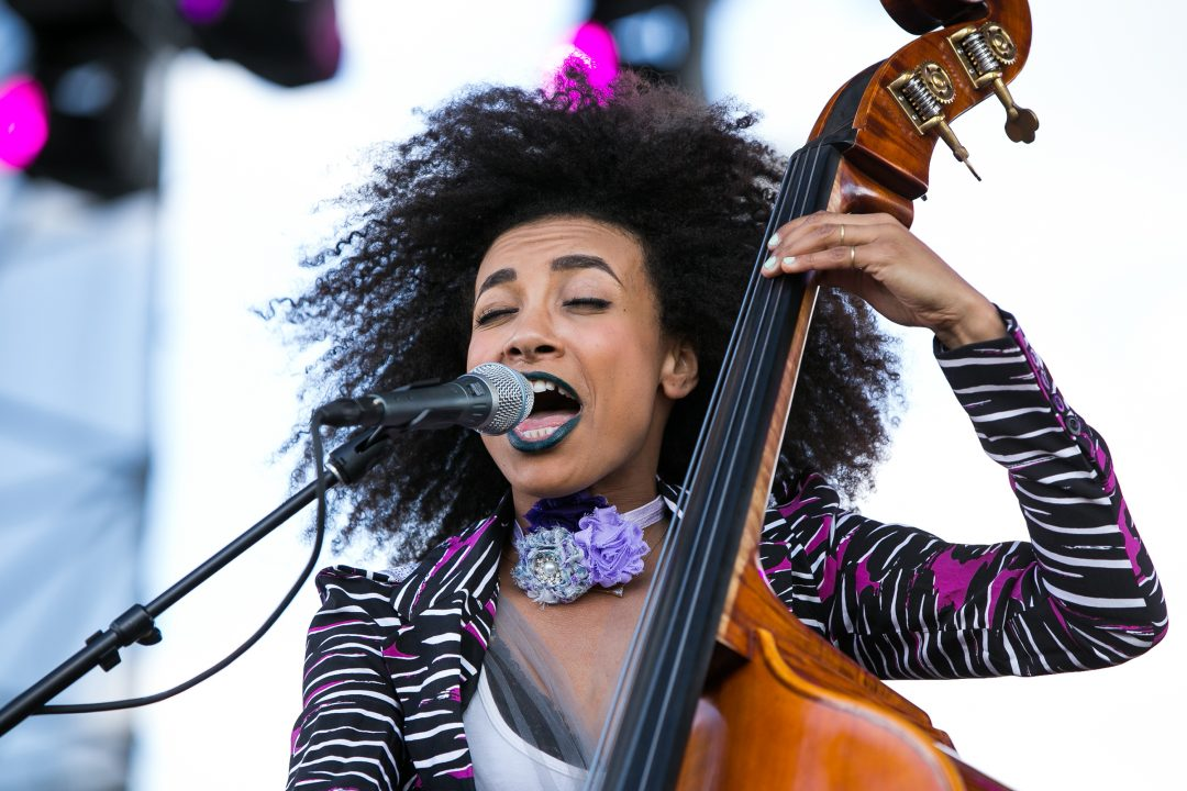 Miami Gardens, FL ñ March 19: Esperanza Spalding performs during the 2017 Jazz in The Gardens at the Hard Rock Stadium in Miami Gardens. March 19, 2017. Credit: Aaron Gilbert/MediaPunch/IPX