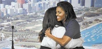 Michelle Obama rouba a cena em dia do lobby