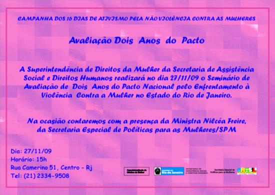 RJ: Seminário de Avaliação de Dois Anos do Pacto Nacional pelo Enfretamento à Violência contra a Mulher