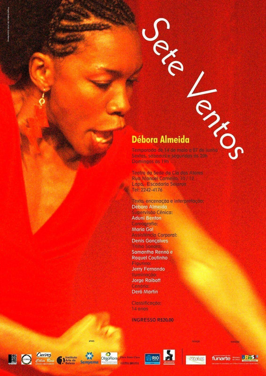 Espetáculo SETE VENTOS - baseado em depoimentos de mulheres - Temporada de 14 de maio a 07 de junho