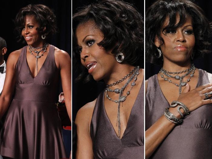 Joias de Michelle Obama roubam a cena em jantar na Casa Branca