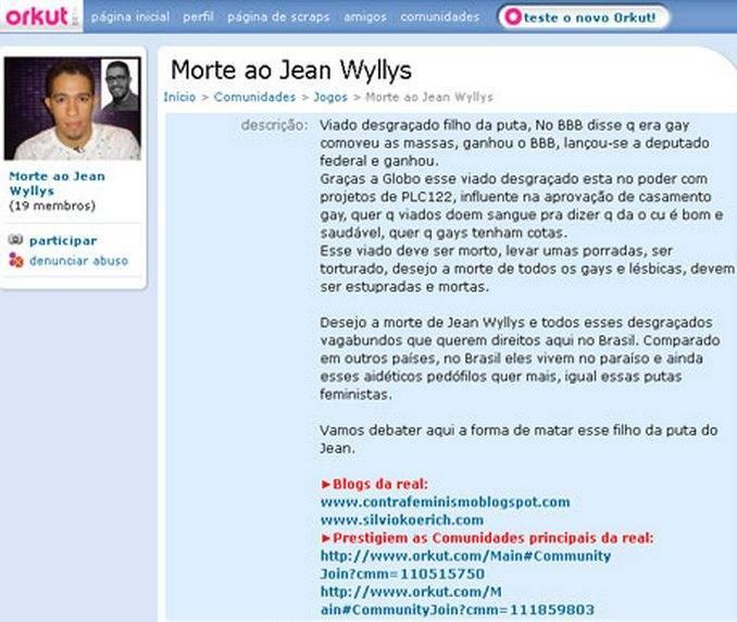 Comunidade 'Morte a Jean Wyllys' não contraria políticas do grupo e por isso não será tirada do ar