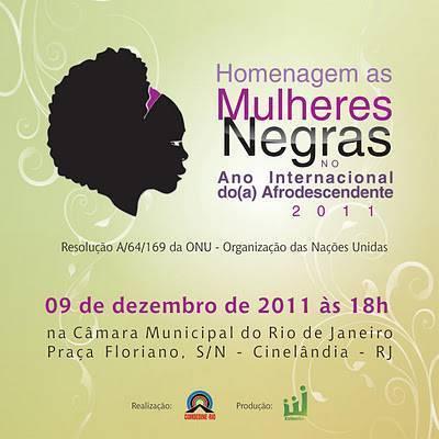 Mulheres Negras são homenageadas dia 09-12 no Rio de Janeiro