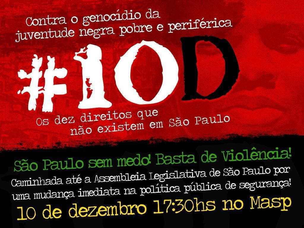 Segunda,10 -  Manifestação contra o Genocídio da Juventude Negra  - 17:30 MASP