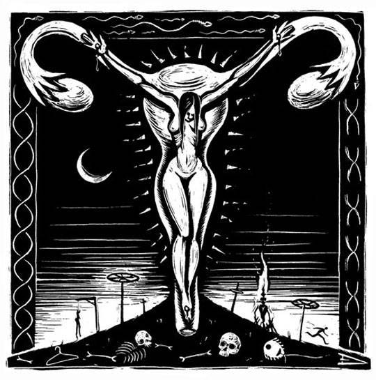 crucified woman by eric drooker
