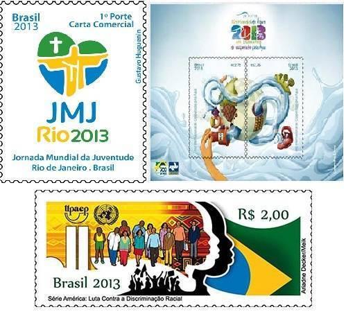 Selos comemorativos correios 2013