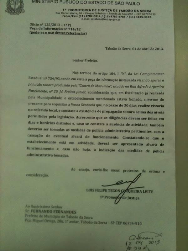 Denúncia: MPE estimula prefeitura de Taboão a perseguir culto de religião de matriz africana