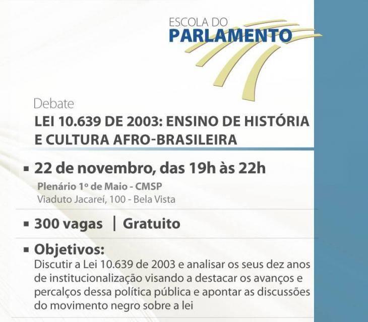 Debate Lei 10.639 de 2003 Ensino de História e Cultura Afro-Brasileira