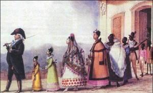 Uma família brasileira do início do século 19 retratada por Jean-Baptiste Debret: mulher submissa ao marido. Foto: Reprodução/Jean-Baptist Debret