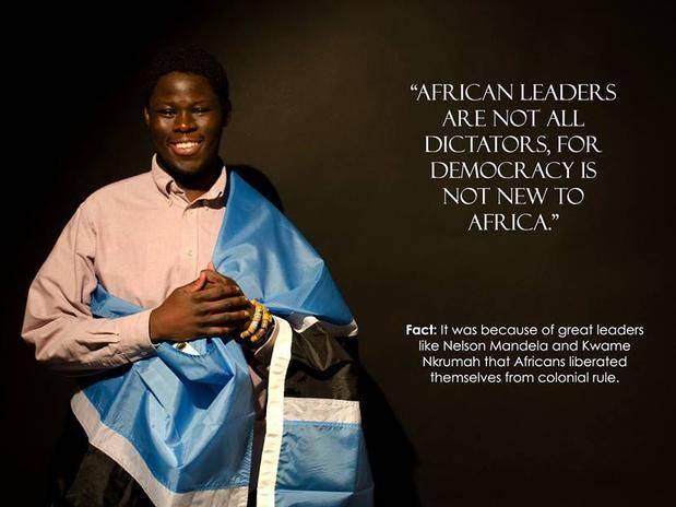 """""""Os líderes africanos não são todos ditadores, e demoracracia não é nova para África"""", diz a mensagem, relembrando líderes como Nelson Mandela e Kwame Nkrumah"""