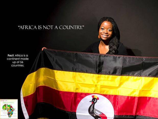 """""""África não é um país"""", diz a mensagem. """"A África é um continente formado por 56 países"""