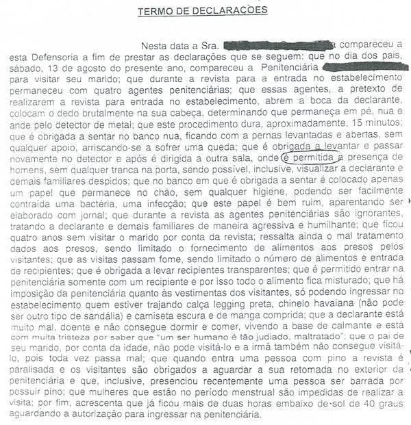 Declaração de vítima de revista vexatória reunida pela Rede de Justiça Criminal