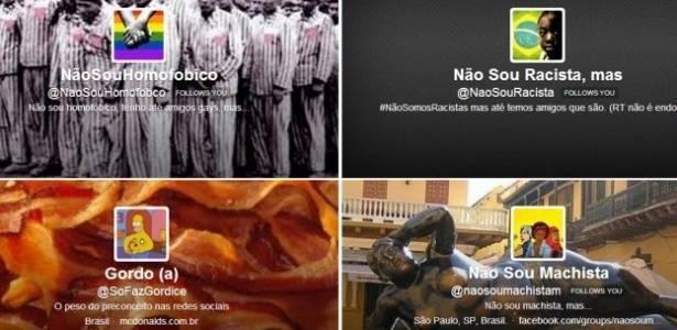 """Imagens das """"capas"""" das páginas que denunciam postagens preconceituosas nas redes sociais"""