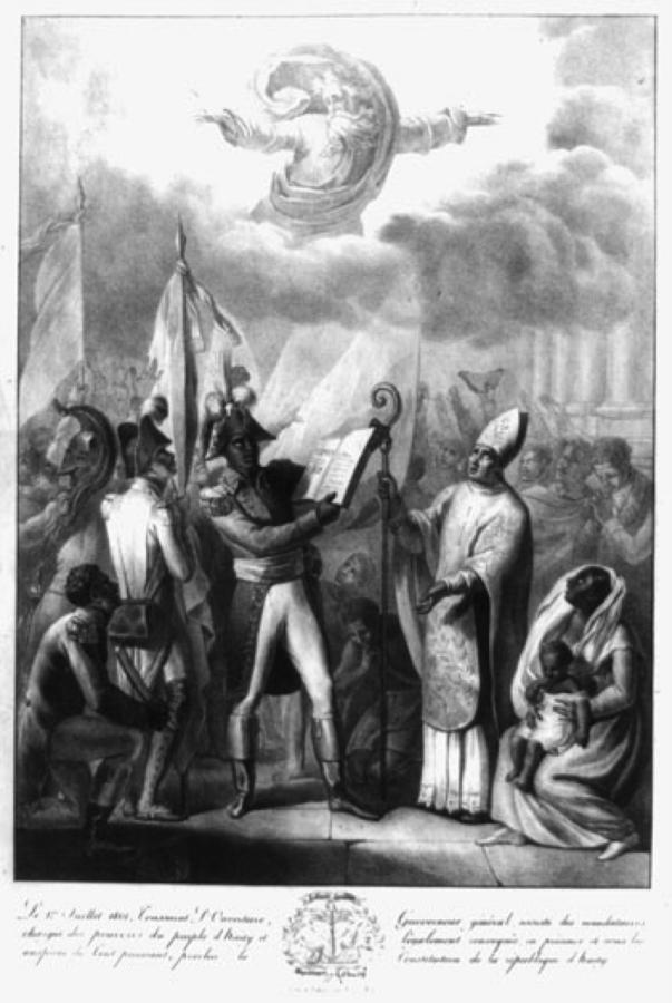 Toussaint L'Ouverture segura a Constituição Haitiana de 1801. (Library of Congress Prints and Photographs Division)
