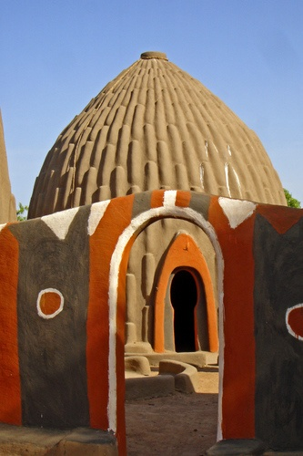 Casa tradicional de Obus, Camarões, África Ocidental
