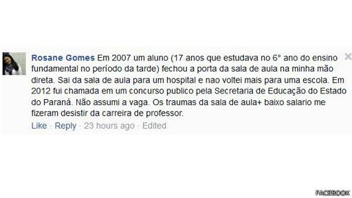 Rosane Gomes foi uma das professoras que contou via redes sociais ter sofrido agressão de alunos