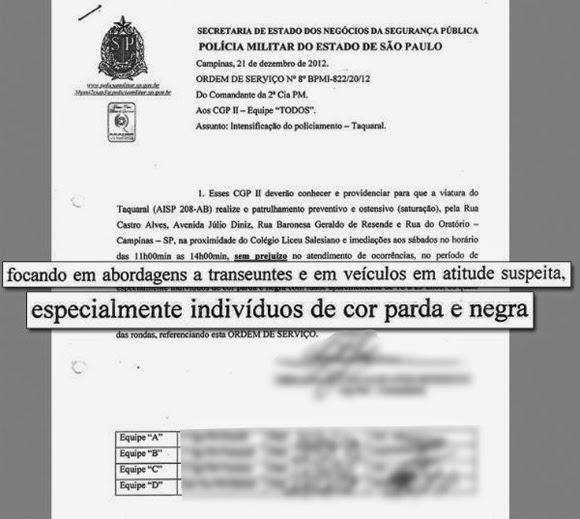 Documento da Polícia Militar de São Paulo Revela o Racismo Presente na Instituição policial.