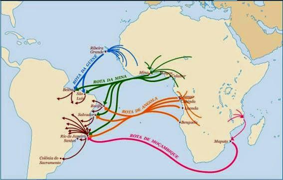 mapa rota dos escravos
