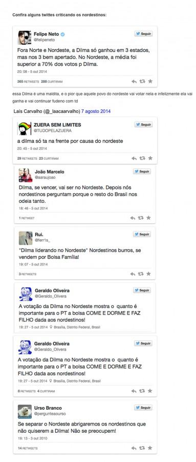 twitters Nordestinos são discriminados após vitória de Dilma no N/NE