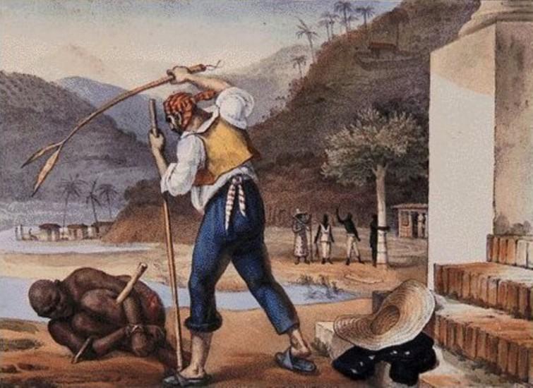 O capataz a punir o escravo, numa roça brasileira, retratado pelo francês Jean-Baptiste Debret