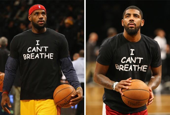 LeBron James ao lado de Kyrie Irving antes do jogo contra o Brooklyn Nets (Foto: Getty Images)