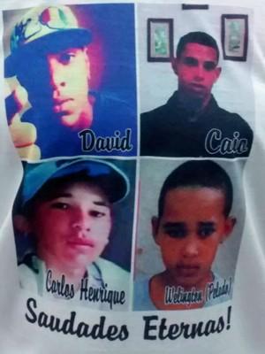 Detalhe de camiseta com fotos de quatro das cinco vítimas de acidente (Foto: Isabella Calzolari/G1)
