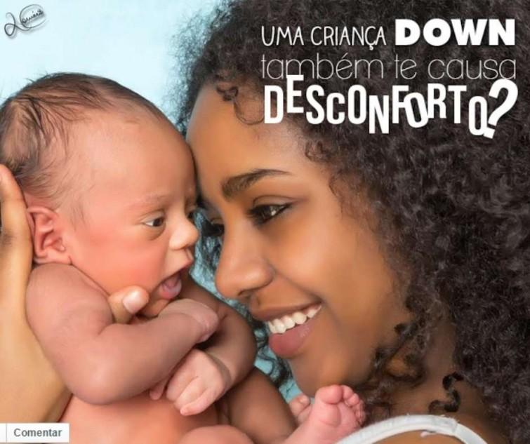 """Críticas foram publicadas sob o título """"Uma criança down também te causa desconforto?"""" Foto: Facebook / Reprodução"""