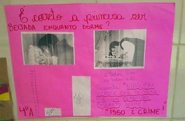 Professora de escola em Uruguaiana (RS) usou história da Bela Adormecida para ouvir a opinião dos alunos (Foto: Arquivo pessoal)
