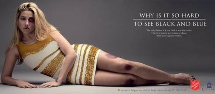 Vestido polêmico da internet é usado em campanha sobre a violência contra a mulher