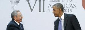 """Obama descreve como """"histórico"""" encontro com Raúl Castro"""