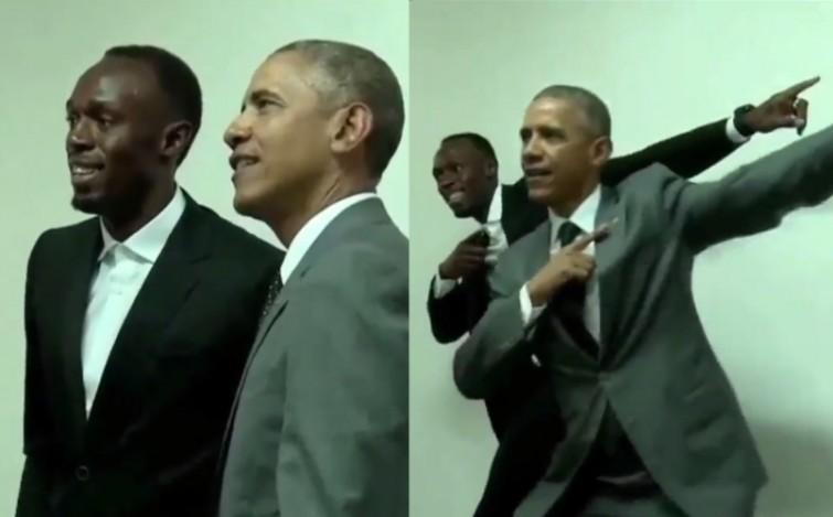 Barack Obama faz tradicional pose de Usain Bolt ao lado do corredor na Jamaica