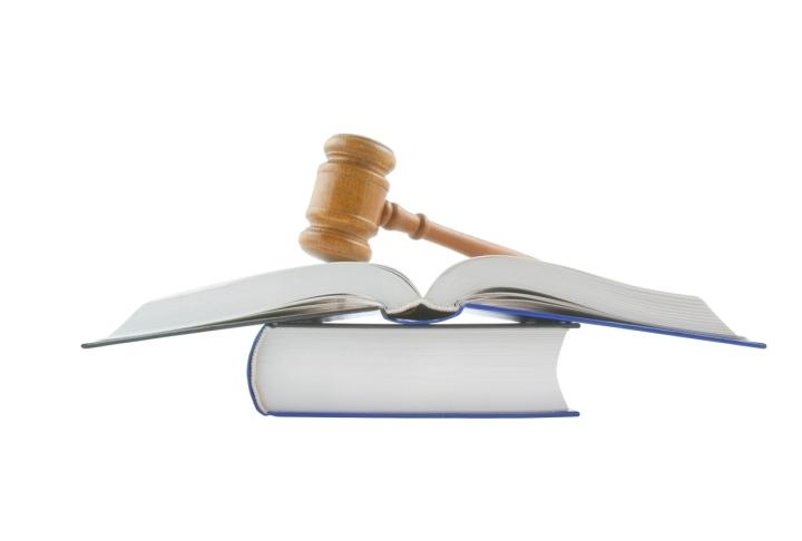 Gavel and legal books isolated