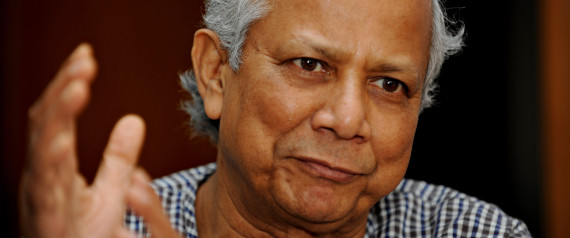 To go with Finance-banking-Bangladesh-Nobel-Yunus,INTERVIEW by Julie Clothier  Nobel laureate Muhammed Yunus gestures during an interview with AFP at his office in Dhaka on October 11, 2009. Bangladesh's