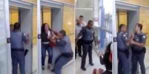 Após ficar presa em porta giratória de banco, cliente é atirada no chão por PM em São Paulo (VÍDEO)