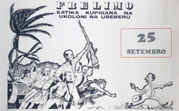 Cartaz da Frelimo comemorativo do sexto aniversário do desencadeamento da Luta Armada   Arquivo Fundação Mário Soares
