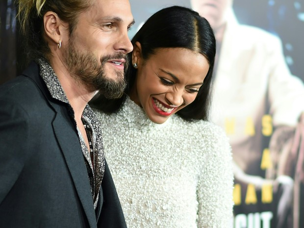 Zoe Saldana e o marido, Marco Perego (Foto: Frazer Harrison/ Getty Images/ AFP)