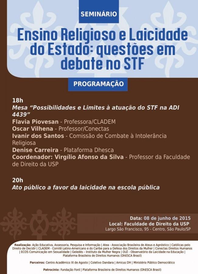 Convite Seminário: Ensino Religioso e Laicidade do Estado: questões em debate no STF  - 08 de junho- SP