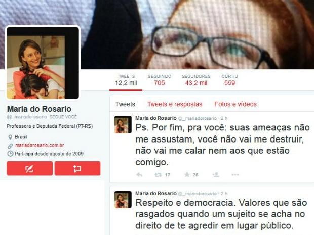 Maria do Rosário se manifestou na internet (Foto: Reprodução/Twitter)