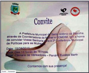 Prefeitura de Santo Antonio da Patrulha faz convite sexista para Conferência de Política para Mulheres