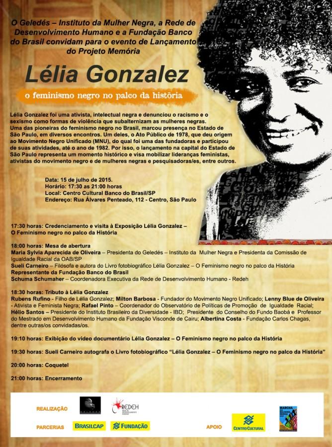 Convite - Tributo à Lelia Gonzalez no Centro Cultural Banco do Brasil/São Paulo - 15 de julho de 2015