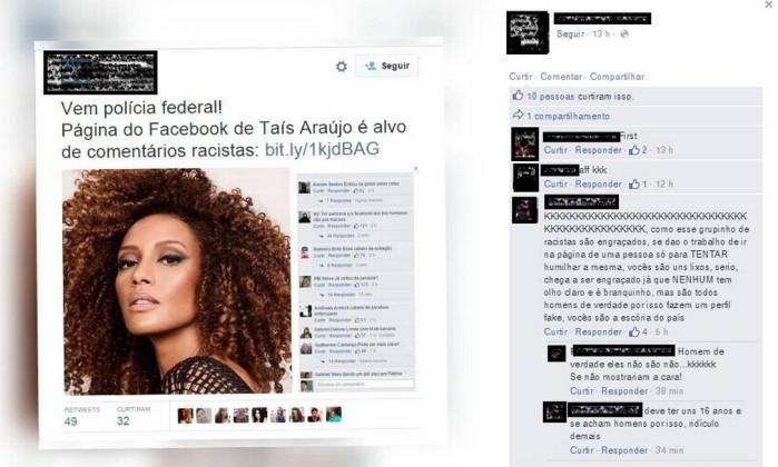Página de um dos acusados de ofender a atriz Taís Araújo com comentários racistas. Imagem foi compartilhada no perfil do autor, que logo depois deletou a página - Reprodução Facebook