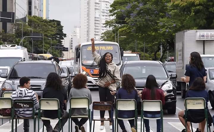Marcela durante um dos atos da última semana na capital de são Paulo   Foto de Marlene Bergamo