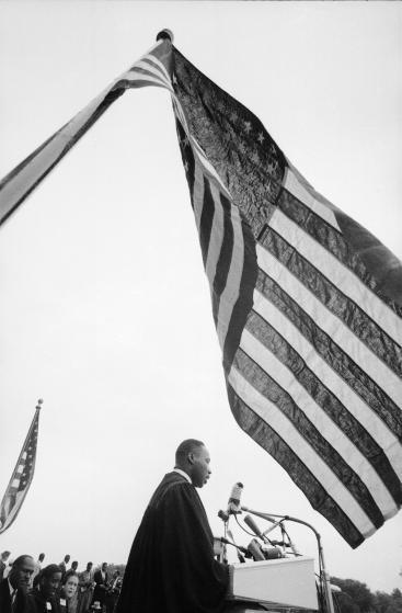 Rev. Martin Luther King Jr. speaking at'Prayer Pilgrimage for Freedom' at Lincoln Memorial.