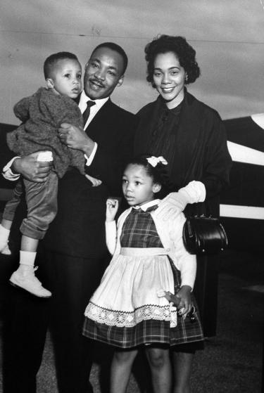 Civil Rights ldr. Dr. Martin Luther King Jr. holding his son Martin III as his daughter Bernice and wife Coretta greet him at the airport upon his release from Georgia State prison after incarceration for leading boycotts. (Photo by Donald Uhrbrock/The LIFE Images Collection/Getty Images)