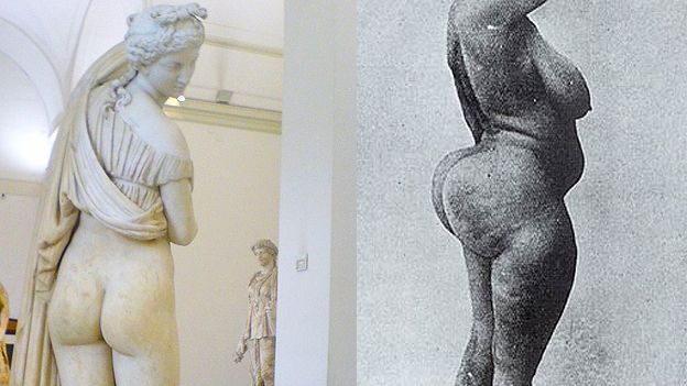"Image caption A Venus de nádegas ""belas"" e as curvas de uma mulher'esteatopígica'"