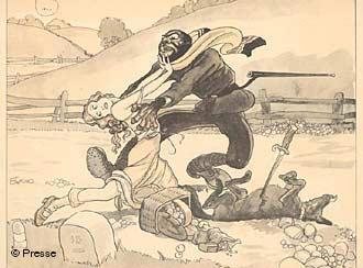 Negro ataca uma mulher em cartaz de propaganda