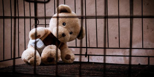 teddy bear abandoned in jail vintage tone