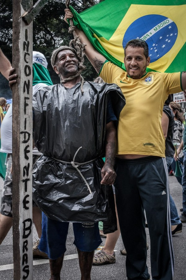 Where was the Afro-Brazilian community at the protests against Dilma Rousseff?