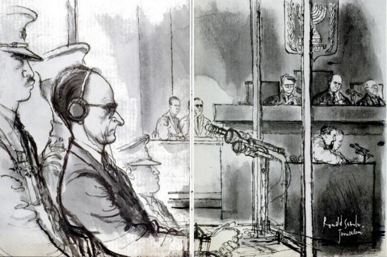 Adolf Eichmann em seu julgamento em Jerusalém, (Julho 17, 1961), por Ronald Searle