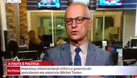 O nervosismo de Pontual, da GloboNews, ao falar sobre repercussão internacional negativa do golpe